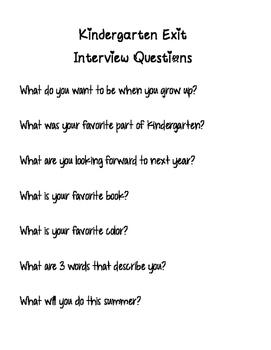 Kindergarten Exit Interview