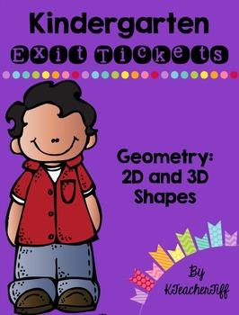 Kindergarten Exit Tickets: 2D and 3D shapes