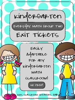 Kindergarten Exit Tickets Group 2 (Everyday Math)