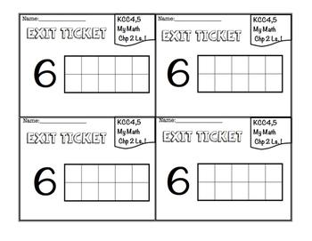 Kindergarten Exit Tickets- MyMath aligned (Chapter 2)