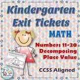 Kindergarten Exit Tickets Numbers 11-20