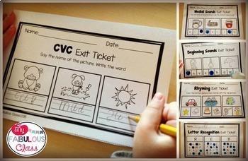 Kindergarten Literacy Exit Tickets Bundle