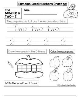 Kindergarten Fall Math NO PREP Number 1 to 10 Practice