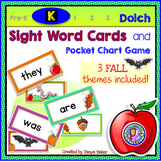 Kindergarten: FALL Dolch Sight Word Cards/Pocket Chart Game