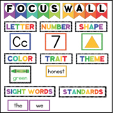 Kindergarten FOCUS WALL with letters, numbers, shapes, col