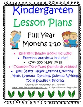 Kindergarten FULL YEAR Lesson Plans - Month 1-10 CCSS aligned GBK