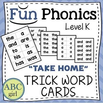 Kindergarten Fundationally FUN PHONICS Level K Take Home Trick Word Cards
