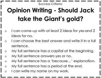 Kindergarten: Fairy Tale - Opinion writing; Jack taking Giant's gold