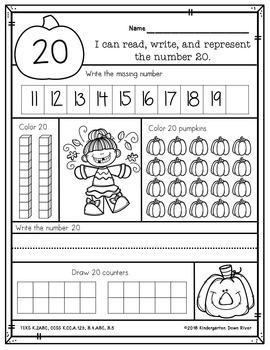 Kindergarten Fall 1-20 Number Practice No Prep Printables {TEKS/CCSS}