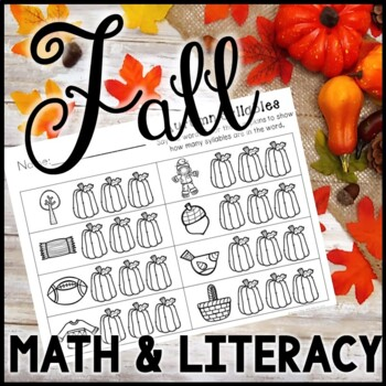 Kindergarten Fall Activities - Math and Literacy - NO PREP!!