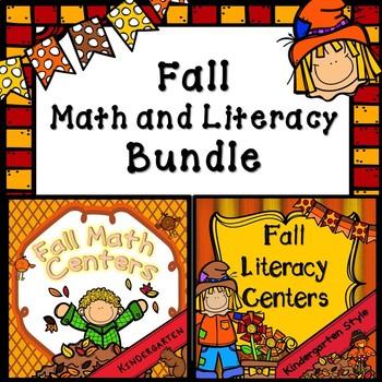 Kindergarten Fall Center Bundle- Fall Math Centers, Litera