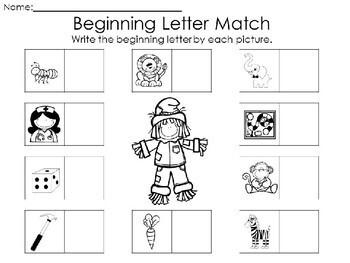 Kindergarten Fall Literacy Center - Beginning Letter Match