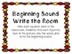 Kindergarten Fall Literacy Center - Beginning Sound Write the Room