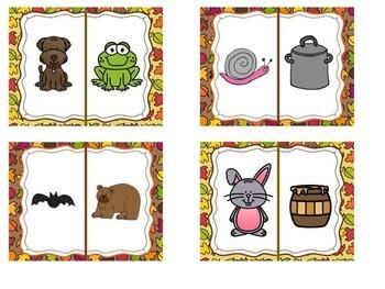 Kindergarten Fall Literacy Center - Does it Rhyme? Pocket Chart Center