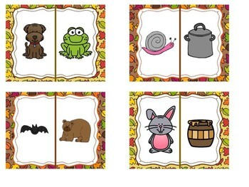 Kindergarten Fall Literacy Center - Does it Rhyme? Pocket Chart Center