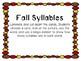 Kindergarten Fall Literacy Center- Fall Syllables