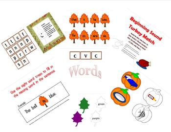 Kindergarten Fall Literacy Centers