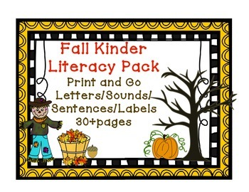 Kindergarten Fall Literacy Pack