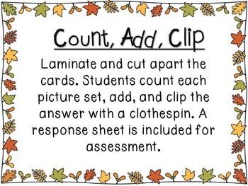 Kindergarten Fall Math Center - Count, Add, and Clip!