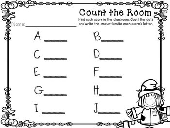 Kindergarten Fall Math Center - Count the Room
