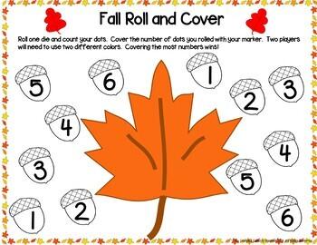 Kindergarten Fall Math Center Games