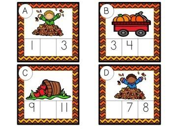 Kindergarten Fall Math Center - Missing Number