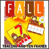 Kindergarten Fall Math Center - Number Tracing and Filling Ten Frames