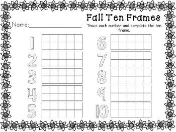 Kindergarten Fall Math Center - Number Tracing and Filling Ten Frames