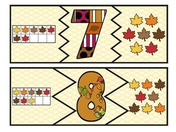 Kindergarten Fall Math Centers- 5 Autumn Math Stations