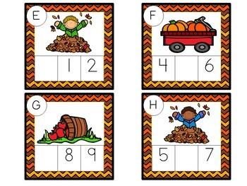 Kindergarten Fall Math Centers- 7 Autumn Math Stations