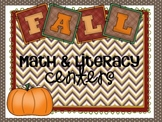 Kindergarten Fall Math and Literacy Centers