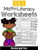 Kindergarten Fall Math and Literacy Worksheets