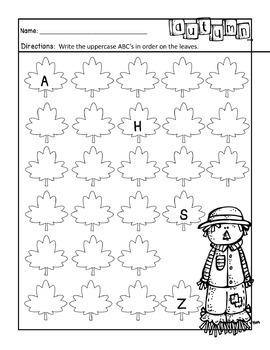 Kindergarten Fall NO PREP Math and Literacy