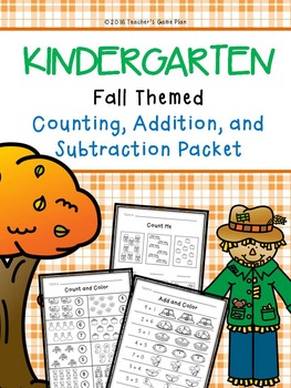 Kindergarten Fall Themed Counting, Addition and Subtraction