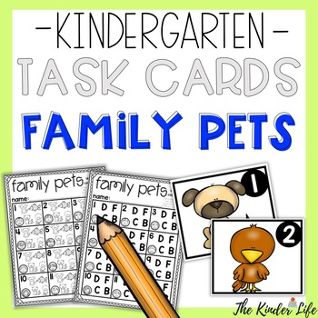 Kindergarten Family Pets Task Cards Numbers Letters Animals