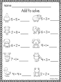 Kindergarten Math and Literacy Practice - Farm Animals