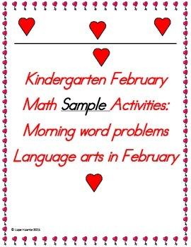 Kindergarten  February Activities Sample Freebies