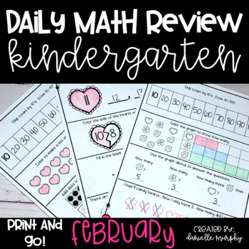 Math Journal--February Daily Review for Kindergarten--Comm