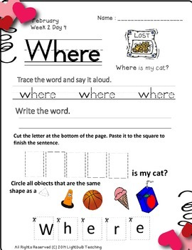 Kindergarten February Daily Work in Literacy and Math