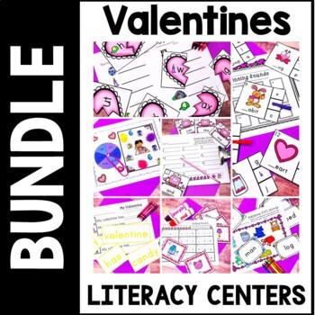 Kindergarten Valentine's Day Literacy Centers- February Reading stations