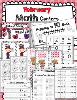 Kindergarten February Math & Literacy Centers - CCSS Aligned