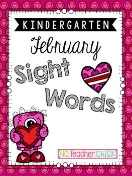 Kindergarten February Sight Word Search