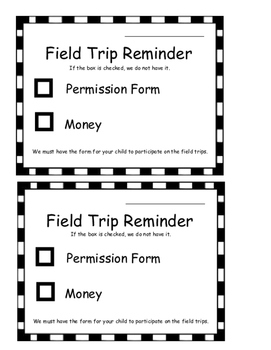 Kindergarten Field Trip Reminder