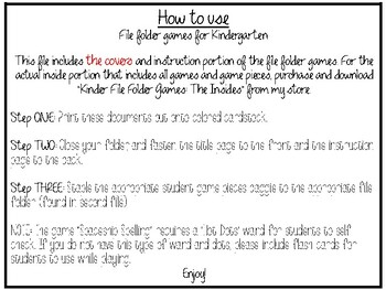 Kindergarten File Folder Games COVERS AND INSTRUCTIONS