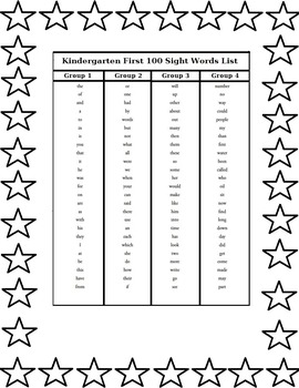 Kindergarten First 100 Sight Words List