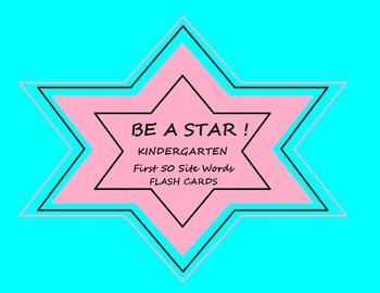 Kindergarten First 50 Site Words Flash Cards