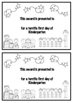Kindergarten First Day Certificate