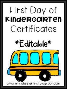 Kindergarten First Day of School Certificates