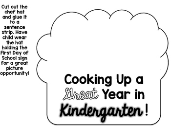 Kindergarten First Day of School Hat and Sign No Prep Freebie! {Cooking Themed}