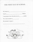 Kindergarten First Day of School Packet